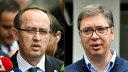 This combination of file photographs created on July 6, 2020 shows (L) newly elected Kosovo Prime Minister Avdullah Hoti as he speaks to the media in Pristina on June 3, 2020 and (R) Serbian President Aleksandar Vucic addressing the media outside a pollin