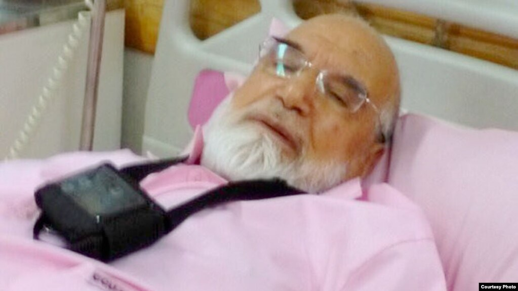 A photo released by Mehdi Karrubi's son on Twitter shows him in a hospital in Tehran in July.