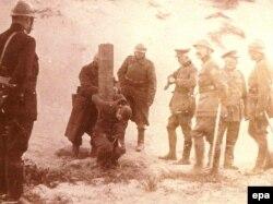 Расстрел дезертира в бельгийской армии. 1918 год