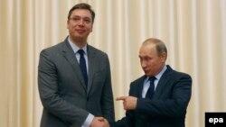 Aleksandar Vuçiq dhe Vladimir Putin gjatë takimit të sotëm në një rezidencë afër Moskës