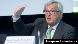 European Commission President Jean-Claude Juncker delivers a speech at the 2017 EU Ambassadors Conference in Brussels on August 29.