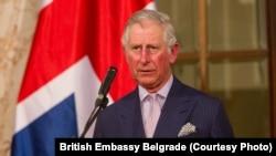 Charles, Prince of Wales, speaks in the Serbian parliament in Belgrade on March 17.