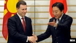 Премиерите на Македонија и на Јапонија, Никола Груевски и Јошихико Нода, на средба во Токио.