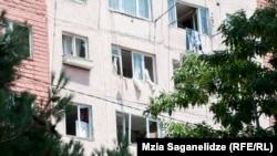 აფეთქების შედეგად დაზიანებული მრავალსართულიანი სახლი