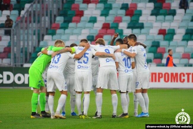 Игроки минского футбольного клуба «Динамо» во время чемпионата Беларуси-2019 в футболе