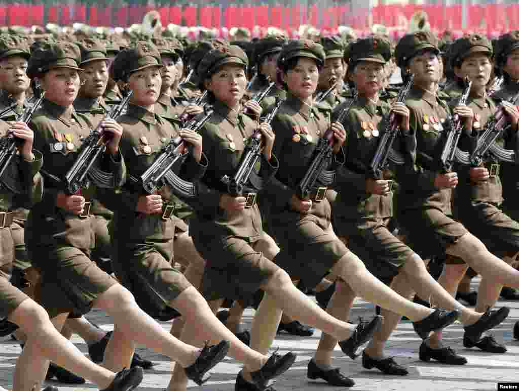 Female troops take part in a parade marking the 1948 establishment of North Korea in Pyongyang, on September 9. (Reuters/Kyodo)