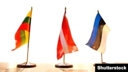 Europe - Small table flags of three Baltic states (Lithuania, Latvia, Estonia)