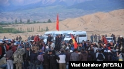 Protesters demand the nationalization of the Kumtor mine in Kyrgyzstan late last month.
