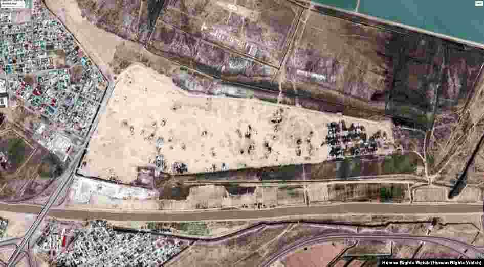 Turkmenistan - Demolished neighborhoods in Ashgabat (Satellite view) after