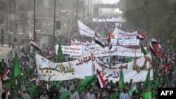 "Thousands came out to protest the tentative Iraqi-U.S. deal, but it was far short of the ""million-man march"" that al-Sadr organizers had promised."