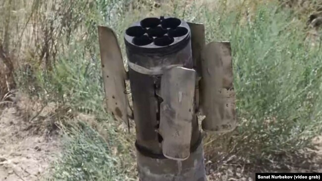 Арысқа түскен снарядтардың бірі. 25 маусым 2019 жыл.
