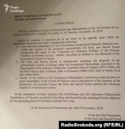Офіційне повідомлення щодо ухвалених рішень Синоду Вселенського патріархату, який відбувся 27–29 листопада 2018 року. Йдеться і про затвердження проект статуту для української автокефалії
