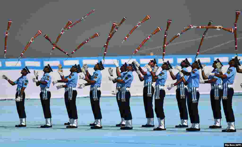 Indian Air Force recruits perform a drill during the presentation of the Indian President's Standards and Colors at Borjhar Air Force Station in Guwahati. (AFP/Biju Boro)