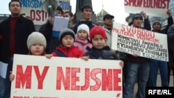 Kazakh asylum-seekers stage a protest in Prague.