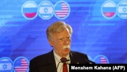 U.S. national security adviser John Bolton speaks during a trilateral summit between the US, Israel and Russia, in Jerusalem, June 25, 2019