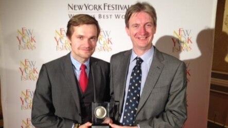 Roman Kupka (l) and Ray Furlong (r) at the 2016 New York TV & Film Festival awards gala in Las Vegas, April 19, 2016