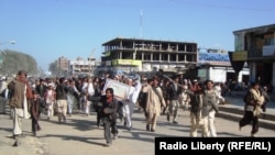An angry crowd at a protest in Paktika Province this week over the Koran burnings