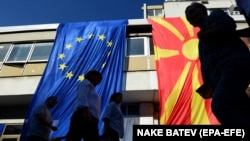 Some Macedonians participated in a march this month in favor of the name-change referendum.