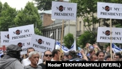Opposition protesters rally for a fifth and final day in Tbilisi on May 25.