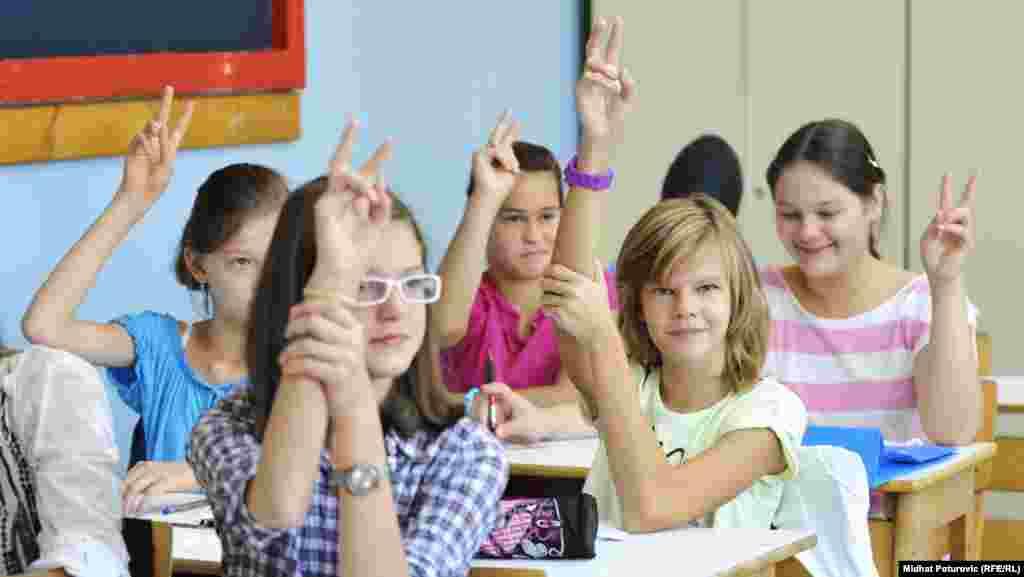 The first day of school at the Isak Samokovlija elementary school in Sarajevo