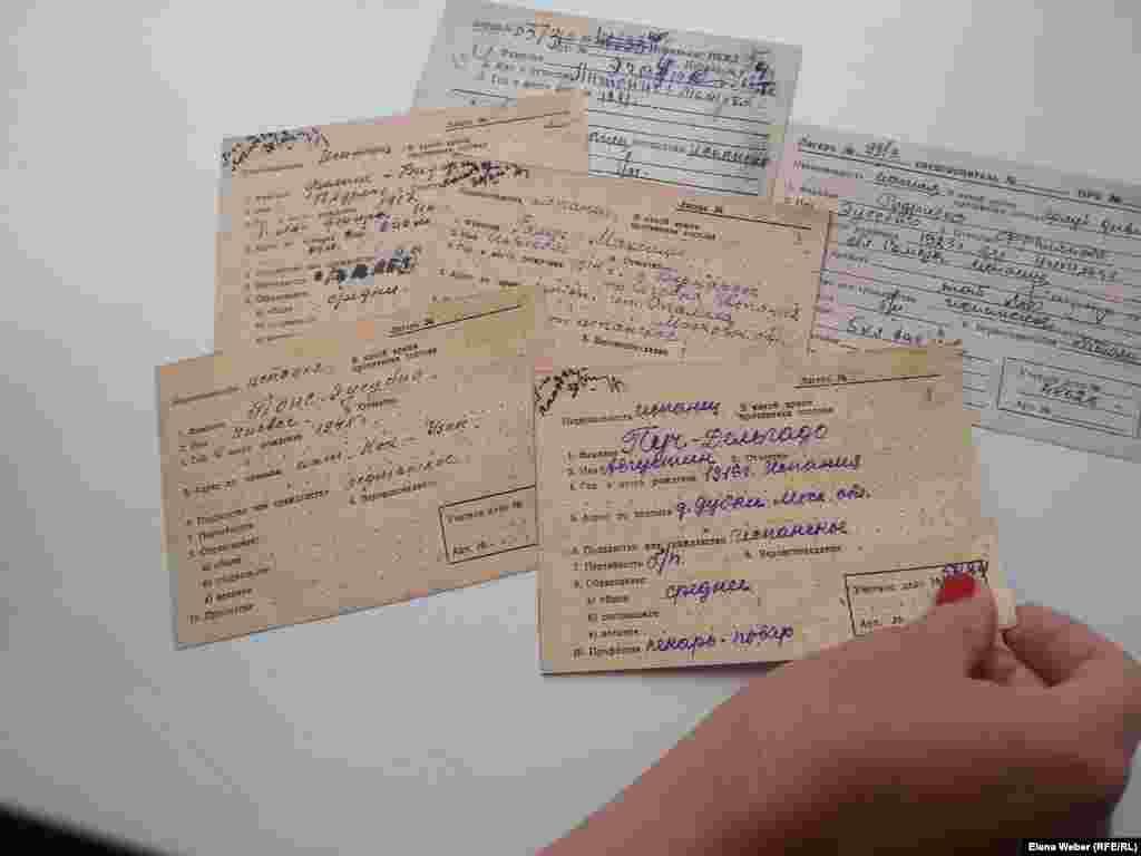 Учетные карточки испанцев - военнопленных, воевавших на стороне немцев и интернированных граждан, проживавших на территории Советского союза, сосланных в лагерь Спасск в Карагандинской области. Государственный архив Карагандинской области совсем недавно передал в музей памяти жертв политических репрессий 152 карточки испанцев, содержащихся в этом лагере.