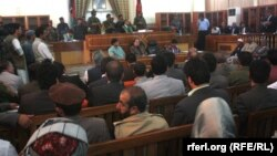 A scene from the Kabul courtroom on September 7, when seven defendants were convicted and sentenced to death for a brutal robbery and gang rape in the nearby Paghman district.