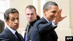 French President Nicolas Sarkozy (left) and his U.S. counterpart Barack Obama spoke at a joint press conference duirng the G8 summit in Deauville, France.