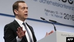 Russian Prime Minister Dmitry Medvedev speaks at the 52nd Security Conference in Munich on February 13.
