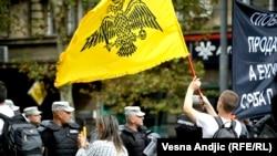Protest desnice uoči Parade ponosa u Beogradu, septembar 2017. godine, fotoarhiv