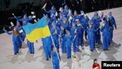 Українська збірна на церемонії відкриття Олімпіади в Пхьончхані, 9 лютого 2018 року