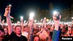 Демонстрации в Будапеште.14 апреля 2018 года.