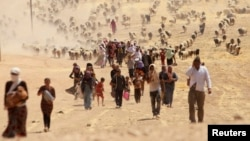 Հյուսիսային Իրաքի շրջաններից բռնի ուժով տարհանվող եզդիներ, 10-ը օգոստոսի, 2014թ.