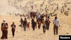 """أيزيديون يغادرون سنجار بعد دخول مسلحي تنظيم """"داعش"""" الى المدينة"""