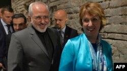 کاترين اشتون، مسئول سياست خارجی اروپا و محمدجواد ظريف، وزير خارجه ايران