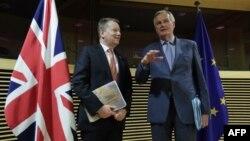 میشل بارنیه، مذاکرهکننده اتحادیه اروپا برای برگزیت (راست) و همتای بریتانیاییاش دیوید فراست