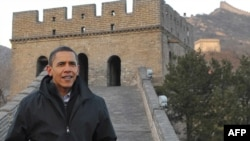U.S. President Barack Obama tours the Great Wall today.
