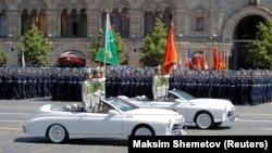 Türkmen harbylary Moskwada Ýeňiş paradyna gatnaşýar. Moskwa, Gyzyl meýdan, 24-nji iýun, 2020.