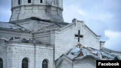 Nagorno Karabakh - The Ghazanchetsots Cathedral in Shushi damaged by shelling,October 8, 2020