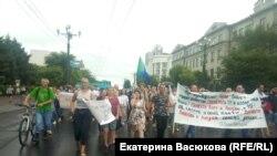 Хабаровсктогу митингге чыккандар. 1-август, 2020-жыл.