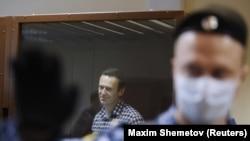 Alexei Navalnîi în timpul apelului judecat într-un tribunal din Moscova, 20 februarie 2021.