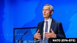 Генеральный секретарь НАТО Йенс Столтенберг во время онлайн-пресс-конференции по Афганистану. Брюссель, 17 августа 2021 года