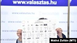 Pálffy Ilona, a Nemzeti Választási Iroda vezetője felmutatja a 2018-as választások szavazólapját.