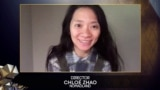 """Režiserka filma """"Nomadland"""" Chloe Zhao javila se uživo na 74. dodjeli nagrada BAFTA, London"""