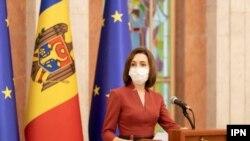 Președinta Maia Sandu la conferința de presă la care a comentat decizia Curții Constituționale, Chișinău, 15 aprilie 2021