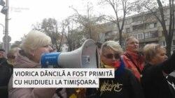 Viorica Dăncilă primită cu huiduieli la Timișoara