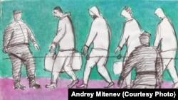 Andrej Mityenev rajzsorozatot készített az oroszországi börtönéletről. 2021. július 14.