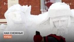 Сибиряк делает скульптуры из снега в шортах и без куртки