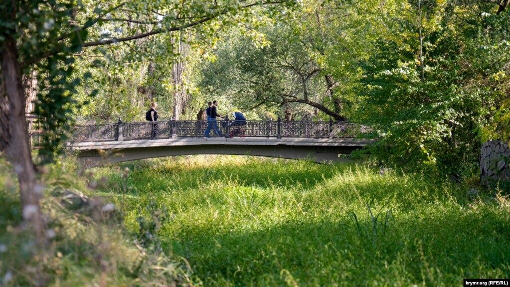 Река в районе улицы Гурзуфская густо заросла под самый мостик