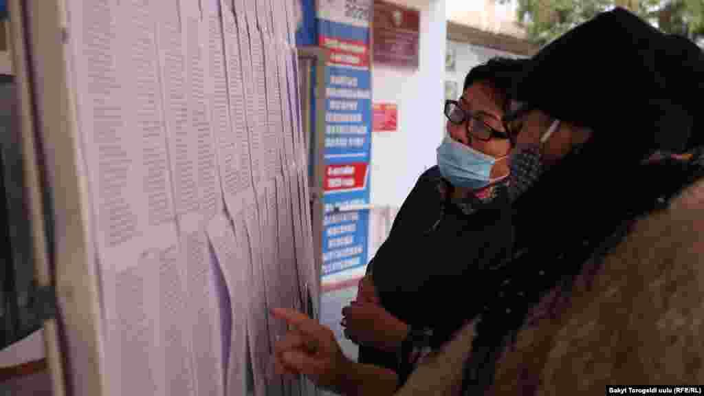 Избиратели на сайте ЦИК имели возможность заранее уточнить свой избирательный участок. Но списки избирателей также вывешенына каждом участке. Бишкек.