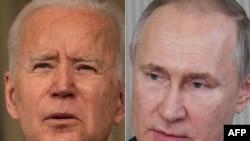 ABŞ-nyň prezidenti Jo Baýden (çepde) we Russiýanyň prezidenti Wladimir Putin
